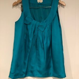 Kate Spade Teal Satin Tank Top